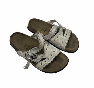 Betula by Birkenstock Women's White Leather Embellished Sandals Size US 6 Narrow