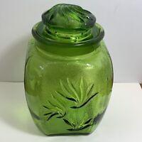 "Vintage Depression Glass Green Kitchen Canister Sugar 8.5"" w/ Lid Grass/Wave"