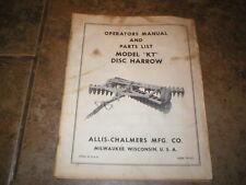 Allis Chalmers Kt Disc Harrow Operators Manual Parts Catalog