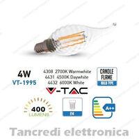 Lampadina led V-TAC 4W = 40W E14 VT-1995 a fiamma filamento candela lampadine