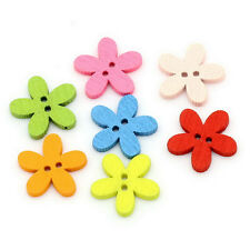 100pcs Crafts Sewing Buttons 14x15mm Flower Wooden