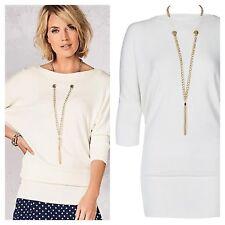 Kaleidoscope Size 18 Ivory Dolman Sleeve Necklace Top JUMPER Sweater New Winter