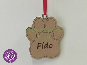 Personalised Wooden Paw Print Christmas Decoration Craft Blank