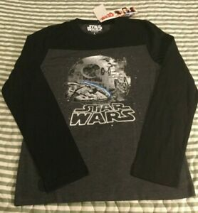 Star Wars Boys Long Sleeve T-shirt SIZE L New with Tags Black/Charcoal