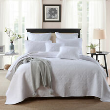 100% Cotton Coverlet / Bedspread Set King & Super King Size Bed 250x270cm White