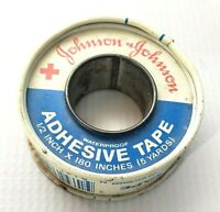 Vintage Johnson & Johnson Red Cross  Adhesive Tape Metal Container with Tape