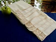 "8 Antique Italian Linen 16"" Napkins Figural Needle Lace Ladies & Gents Figures"