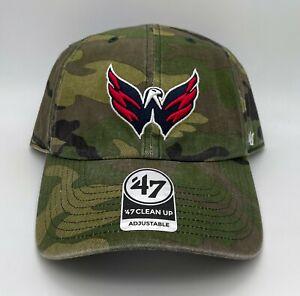 Washington Capitals 47 Brand Clean Up Adjustable Strap Camo Hat Dad Cap NHL