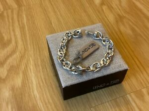 """NWT Uno de 50 Silver-plated Chain Bracelet with Turn/Push/Lock """"Without Pedals"""""""