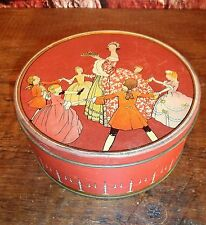 Antique UNEEDA (Nabisco)Cake Baking Primitive kitchen TIN Lady and kids Dancing