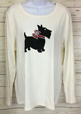 Studio Works Beige Black Scotty Dog Scottish Terrier Long Sleeve Shirt Size L