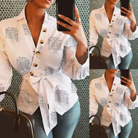 Ladies Blouse Shirt V-Neck Clothing Lantern Sleeve Printed Office Shirts Tops US