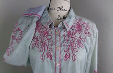 3J Workshop Johnny Was Shirt XL Blue Polk-Dot Pink Rose Embroidery Ruched Seams