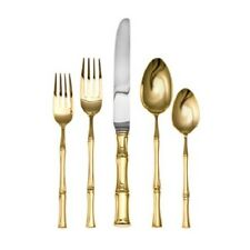 Bamboo Gold D'Oro by Ricci Stainless Steel Flatware Tableware 5pc Setting New
