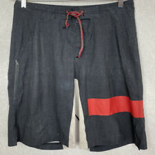 Reebok Men's Crossfit Shorts Size 33 Stretch Board Shorts Black/Red Zip Pocket