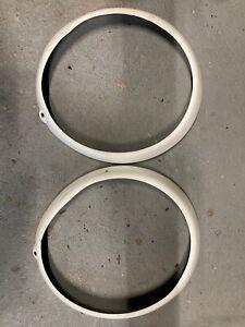 porsche 911 912 930 headlight rings L R WHITE 74-89