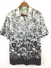 Allison Daley Camp Shirt Sz 16 XL Floral Black White Crinkle Polyester Top
