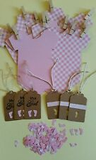 BABY SHOWER KIT GIRLS !BABYGROW BUNTING,TINY FEET TABLE CONFETTI, 6 GIFT TAGS!