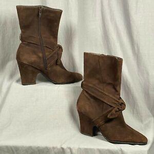 "Aerosoles Suede 3.5"" Heel Women's Size 9 Boots Shoes Tie Detail Side Zipper"