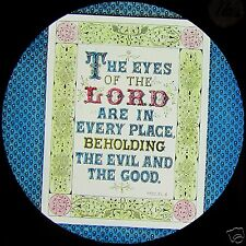 Glass Magic Lantern Slide THE EYES OF THE LORD ARE .....  C1890 SCRIPTURE TEXT
