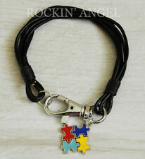Real Leather Wristband Bracelet Bright Autism Puzzle Piece Awareness Gift Unisex