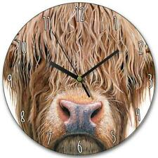 HIGHLAND COW WOODEN CLOCK WALL MOUNT CLOCK BY OLIVIA DE RIVAZ