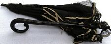 Antique Victorian Black Silk Lace Ebony Folding Parasol Mourning Civil War Era