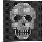 ARTCANVAS Human Skull Emoticon Bones Death Jewel Pixel Canvas Art Print
