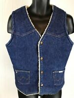 VINTAGE WRANGLER NO FAULT DENIM SHERPA Sanford Set VEST Rockabilly Work Chore