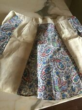 Vintage PAISLEY Half Apron Blue 2 Pockets Handmade