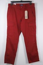 New Levis Athletic Fit Cargo Pants 541 33 x 32 Tomato Red Mens