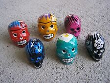 Day of the Dead Lot of 6 Clay Painted Mini Skulls Dia de los Muertos - Mexico
