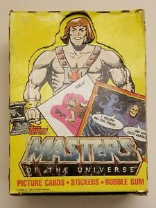 TOPPS MASTERS OF THE UNIVERSE PICTURE CARDS. Box w/some wear, 34 sharp packs.