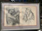 Käthe Kollwitz-2-Lithos Pencil sign-Mother Children & SCARCE one framed together