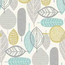 Retro Leaf Stripes Floral Wallpaper Teal White Grey Green 60s 70s Arthouse Malmo