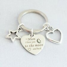 """""""Mum I Love You to the moon and back"""" silver tone key ring rhodium charms"""