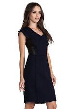 Rebecca Taylor Tweed Dress Lamb Leather Panels Navy/Black Cotton Wool Blend 4