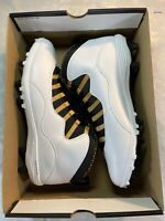 Nike Air Jordan Retro 10 TD Football Cleats White/Gold- Men's sz 14 (CQ2073-107)