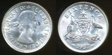 Australia, 1957 Sixpence, 6d, Elizabeth II (Silver) - almost Uncirculated