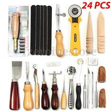 24Pc Leather Craft Tools Hand Sewing Stitching Punch Carving Work Saddle Groover