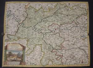 ÎLE-DE-FRANCE FRANCE 1740 ISAAK TIRION UNUSUAL ANTIQUE COPPER ENGRAVED MAP