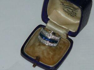 Art Deco Solid Silver Sapphire & Diamond Paste Ring