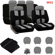 9PCS Auto Car Seat Covers Cushions Front +Rear For 5 Seats Sedans Gray Universal