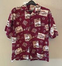 Hilo Hattie Aloha Friday Hawaiian Camp Shirt Woody Wagon Island Life Size Large