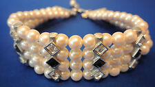 Collar Necklace 4 Rows of Pearls  & Accent Jewels Adjustable WOW