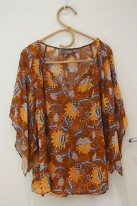 Sussan Mustard Pattern Top    ~Size 12~