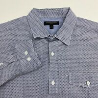 Banana Republic Button Up Shirt Mens Large Long Sleeve Navy White Twill Slim Fit