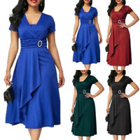 Women Summer Short Sleeve Solid Casual V-Neck Swing Wrap Party Midi A Line Dress