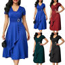 Plus Size Womens V-Neck Ruffle Dress Evening Party Cocktail Formal Elegant Dress