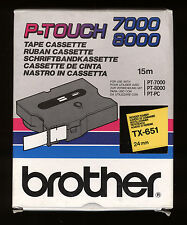 1x BROTHER TX-651 P-touch 24mm Ruban NOIR / YELLOW > PT-7000, PT-8000, PT-PC